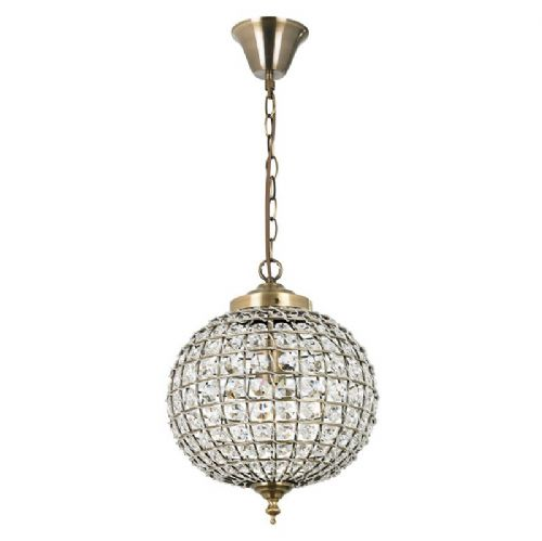Antique brass effect plate & clear glass detail Pendant Light EH-TANARO-AB by Endon